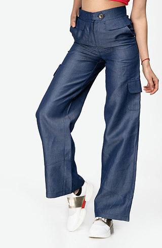 Панталон от деним с висока талия и разкроени крачоли