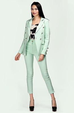 Комплект от сако и панталон с висока талия в цвят мента