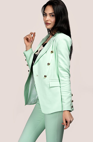 Дамско сако с двуредно закопчаване в цвят мента
