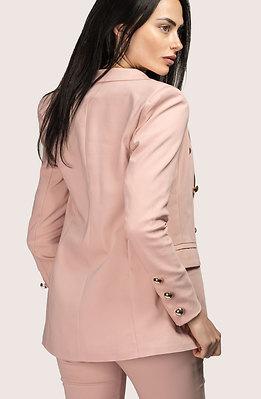 Дамско сако с двуредно закопчаване в цвят пепел от рози