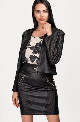 Комплект от сако и пола с кожени елементи