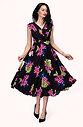 Разкроена флорална рокля с висока талия в черно