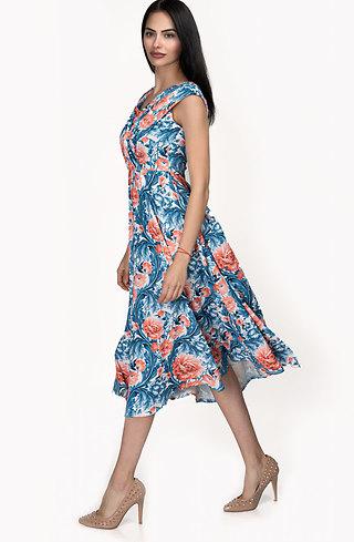 Разкроена флорална рокля с висока талия