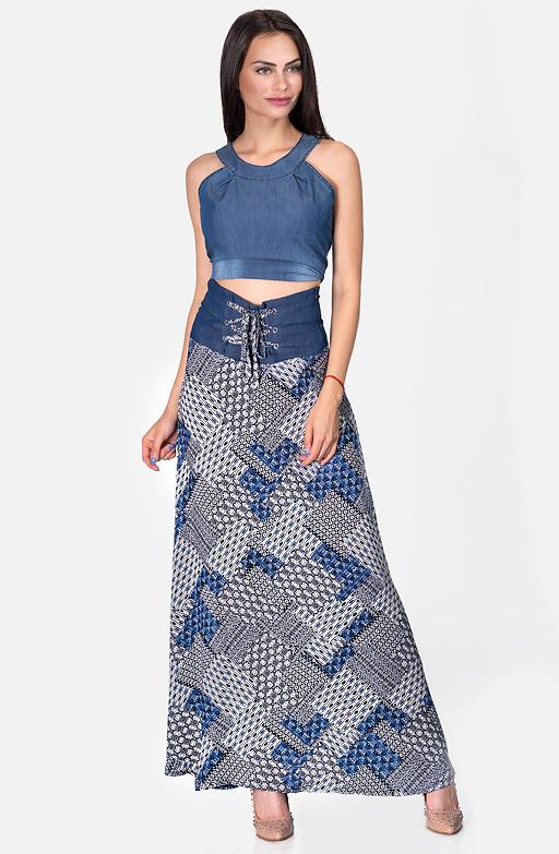 Дълга разкроена пола с дънков акцент в синьо