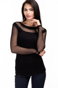 Стилна блуза от памучно трико с ръкави от тюл
