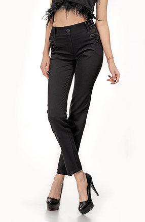 Елегантен черен панталон с кожен акцент