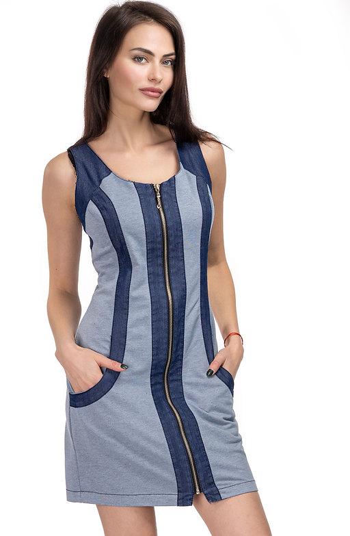 Спортно-елегантна рокля от трико с деним
