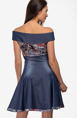 Къса разкроена рокля от летен деним с панделка