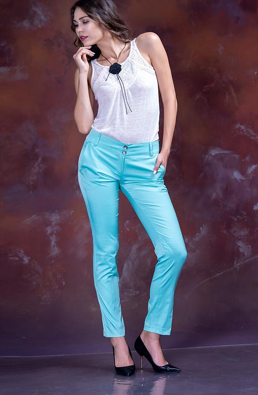 Панталон с нервюри в цвят резеда