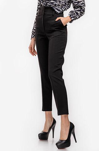 Дамски панталон с ръб и висока талия