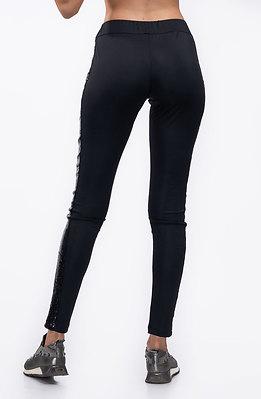 Панталон с кант от черни пайети