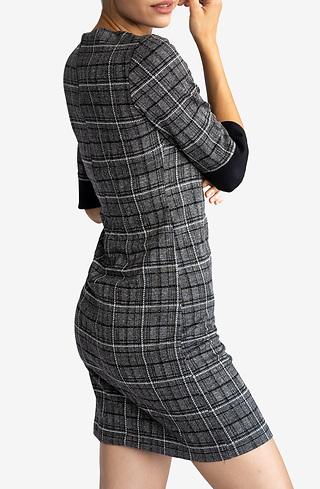 Офис рокля каре с 7/8 ръкав