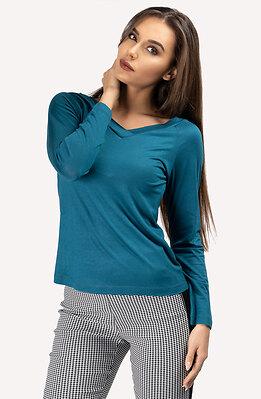 Блузка с V-образно деколте в петролен десен