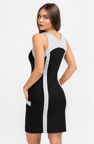 Двуцветна рокля с цип и щампа
