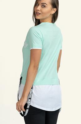 Двуцветна тениска в цвят мента и бяло
