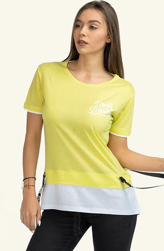 Двуцветна тениска в жълто и бяло