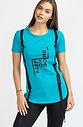 Тениска в цвят тюркоаз със щампа и ленти