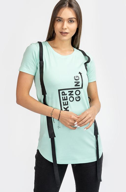 Тениска в цвят мента със щампа и ленти