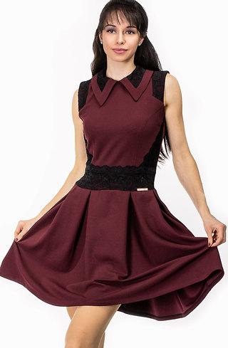 Разкроена рокля без ръкав в цвят бордо