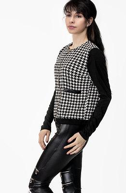 Стилно късо яке в черно-бял десен пипи