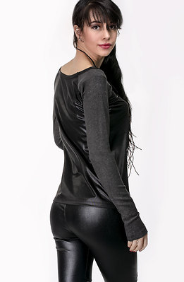 Блуза от плетиво и промазка в тъмно сиво