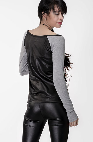 Блуза от плетиво и промазка в сиво