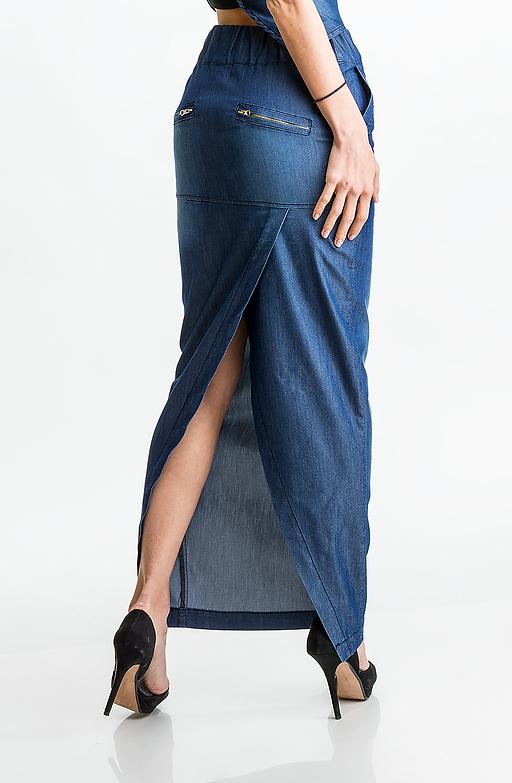 Дънкова пола с прехвърляне