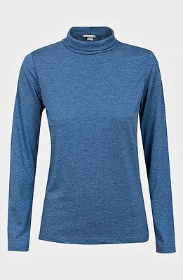 Блуза с поло яка в син десен