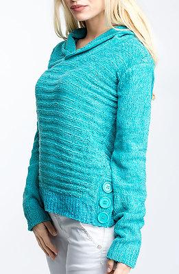 Блуза от плетиво в цвят електрик