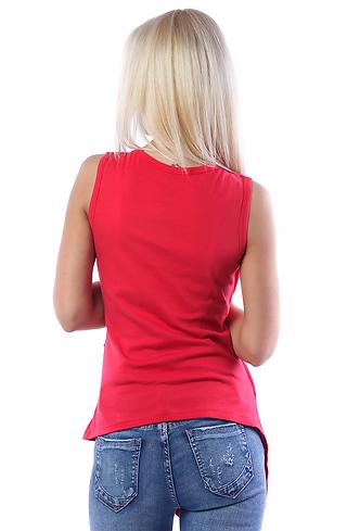 Асиметрична туника с цип в червено