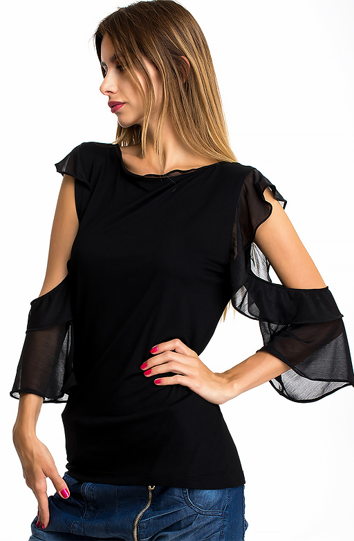 Памучна блуза с  паднали ръкави от тюл