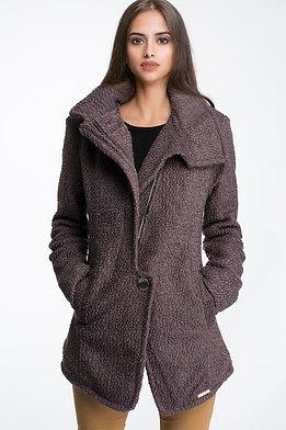 Дамско вълнено палто в кафяво