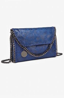 Коктейлна мини чанта в турско синьо