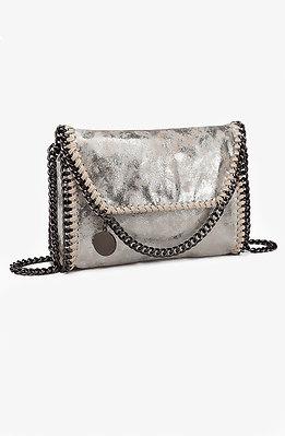 Коктейлна мини чанта в сребристо