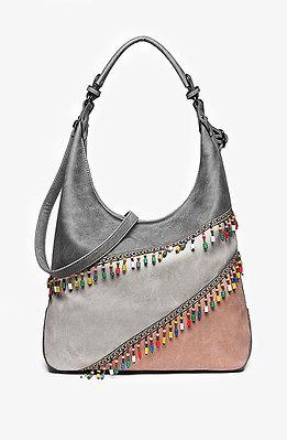 Дамска чанта с цветен панел и мъниста 2