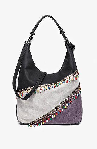 Дамска чанта с цветен панел и мъниста