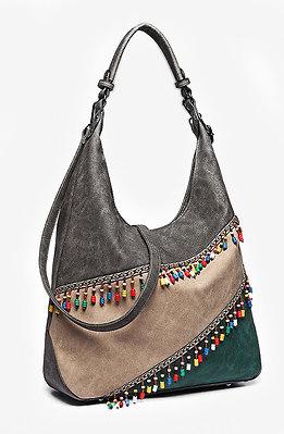 Дамска чанта с цветен панел и мъниста 3