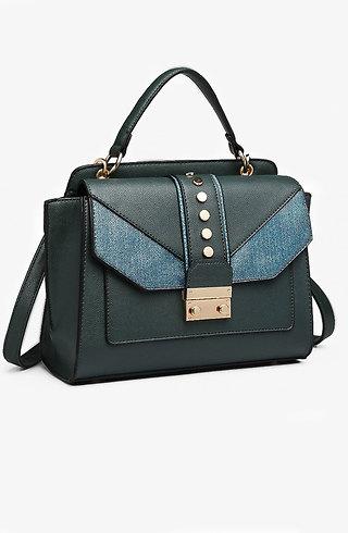 Дамска чанта тип куфарче в тъмно зелен десен