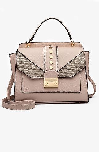 Дамска чанта тип куфарче в розов десен