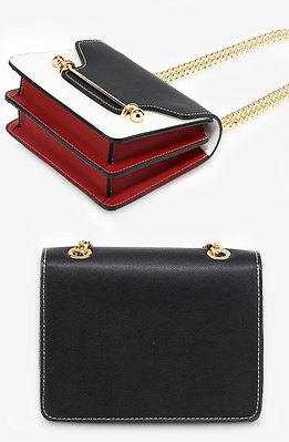 Модна мини чанта със златист обков