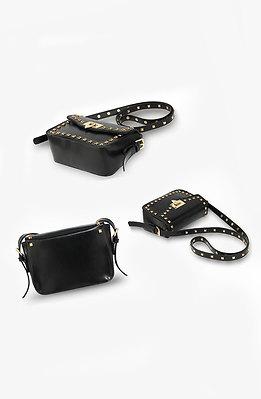 Мини чанта с метални елементи в черно