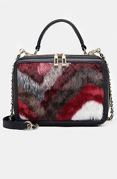 Дамска чанта с орнамент от цветен пух