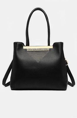 Дамска чанта с орнамент в черно