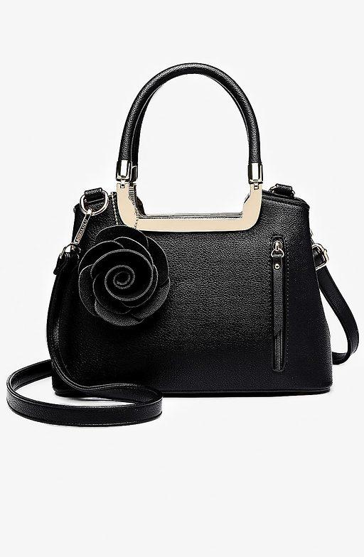Мини дамска чанта с аксесоар роза