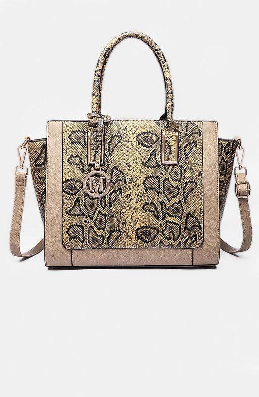 Дамска чанта от змийска еко кожа в цвят каки