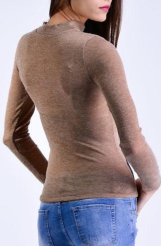 Поло блуза в бежев десен