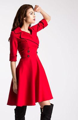 Стилна разкроена рокля с ревери