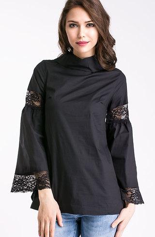 Риза с разкроени ръкави в черно