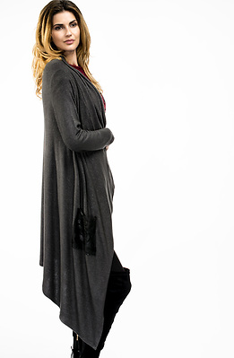 Асиметрична жилетка от финно плетиво