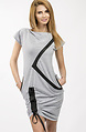 Спортно-елегантна рокля с кожени елементи